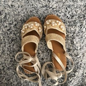 Gold tan espadrille sandals